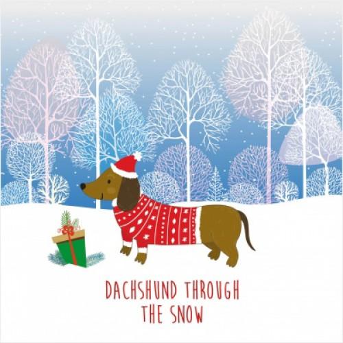 Dachshund Through The Snow - Small Christmas Card Pack