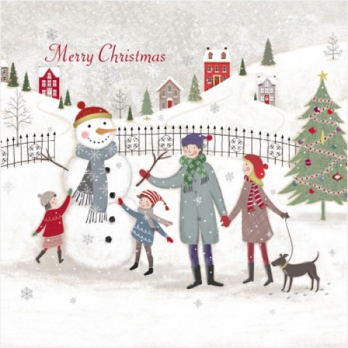 Building Snowman - Large Christmas Card Pack