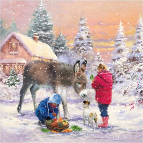 Donkey and New Friends - Small Christmas Card Pack
