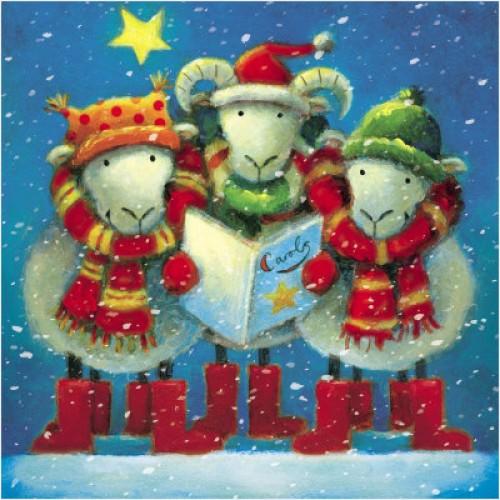 Carol Singing Sheep - Small Christmas Card Pack