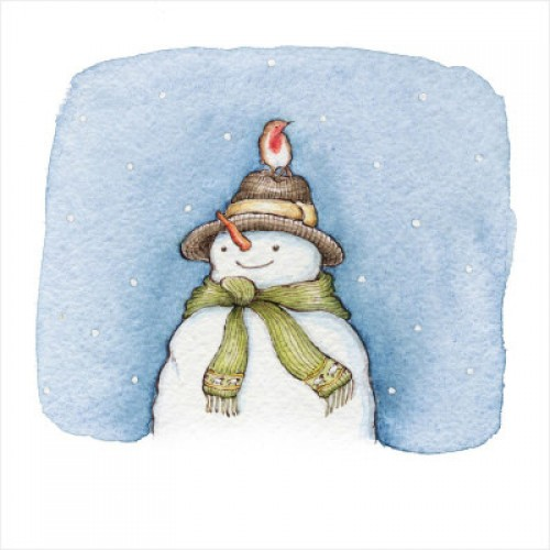 Snowman and Robin  - Small Christmas Card Pack