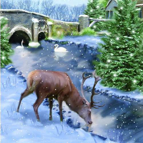 Stag Scene - Small Christmas Card Pack