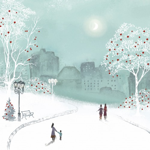 Evening Walk - Small Christmas Card Pack