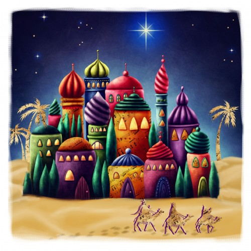 Religious Christmas Card Designs.Colourful Bethlehem Large Christmas Card Pack