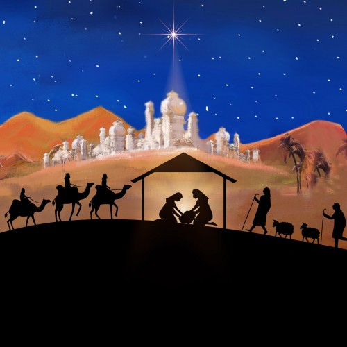 Religious Christmas.Silhouette Large Christmas Card Pack