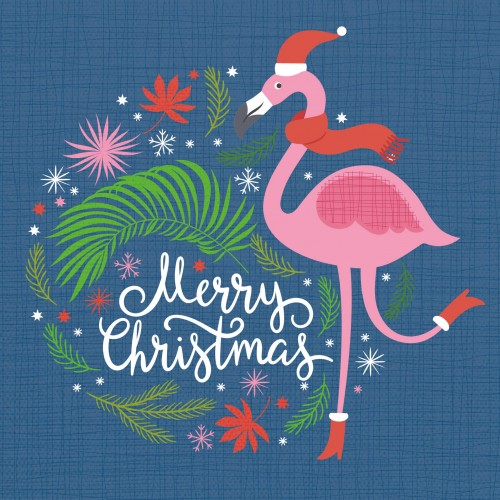 Flamingo Christmas Cards.Festive Flamingo Large Christmas Card Pack