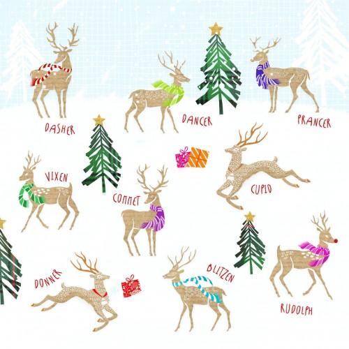 Reindeer Christmas Cards.All The Reindeer Large Christmas Card Pack