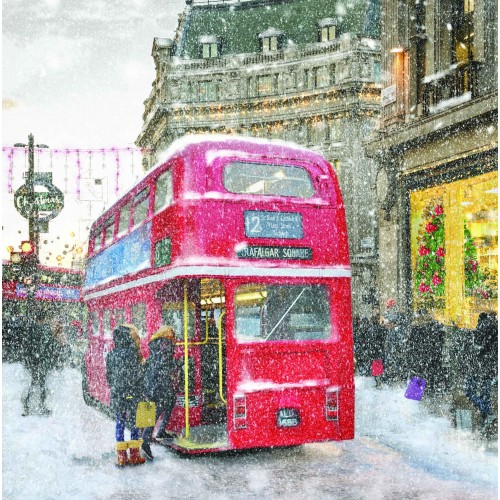 A Christmas card pack featuring people Christmas shoppping using a red London bus.