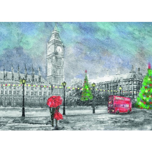 A Christmas card pack showing London on a Christmas evening