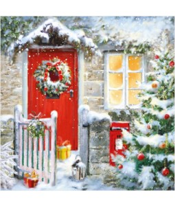 Red Door Wreath - Small Christmas Card Pack