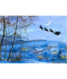 Santa Flying Over Village - Christmas Card Pack