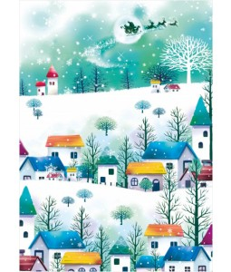 Flying Over Village - Christmas Card Pack