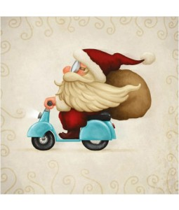 Moped Santa - Large Christmas Card Pack