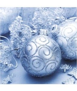 Silver Baubles - Small Christmas Card Pack