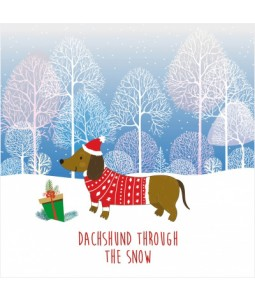 Dachshund Through The Snow - Small Christmas Card Pack