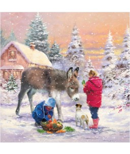 Donkey and New Friends - Large Christmas Card Pack