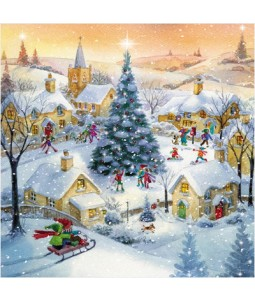 Christmas Village with Flitter - Small Christmas Card Pack