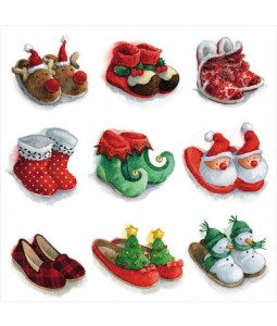 Festive Slippers - Small Christmas Card Pack