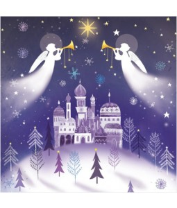 Music with Angels with flitter - Small Christmas Card Pack