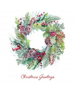 A Christmas card pack with a watercolour wreath