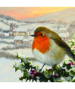 Robin and Holly Berries - Small Christmas Card Pack