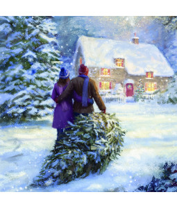 Bringing Home the Tree - Large Christmas Card Pack