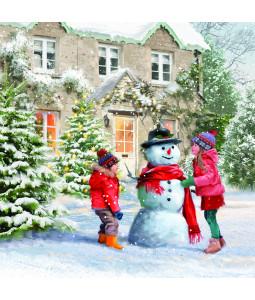 Joy Building a Snowman - Small Christmas Card Pack