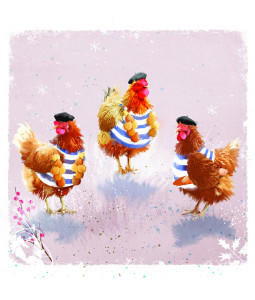 The French Hens - Small Christmas Card Pack