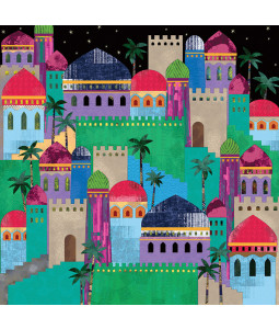 Colourful Little Town - Large Christmas Card Pack