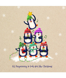 Penguin Tree - Large Christmas Card Pack