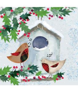 Robin Bird House - Small Christmas Card Pack