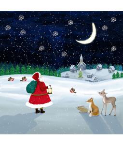 Santa and the Moon - Small Christmas Card Pack