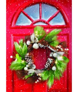 Festive Door Wreath - Christmas Card Pack