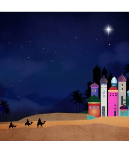 A religious Christmas card pack with the 3 Kings on their journey at night.