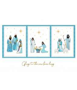 A religious Christmas card pack with a trio of images of the birth of baby Jesus.