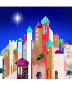 A religious Christmas card pack with a bright star over Bethlehem.