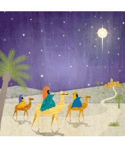 A religious Christmas card pack with an image of the 3 Kings on their way to see baby Jesus.