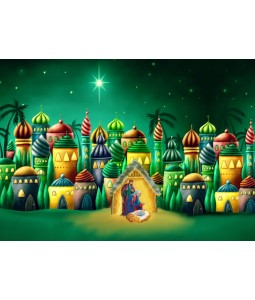 A religious Christmas card pack with a colourful image of Bethlehem.
