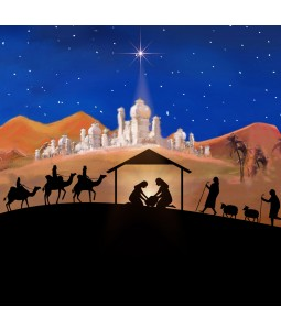 A religious Christmas card pack with a silhoutte image of the nativity scene.