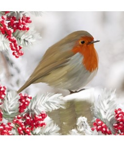 A Christmas card pack with a painted Robin amongst berries