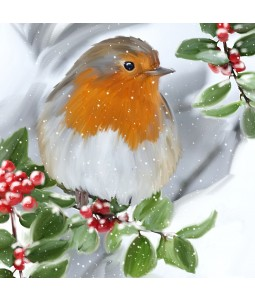 A Christmas card pack with a painted Robin in the snow with holly and berries