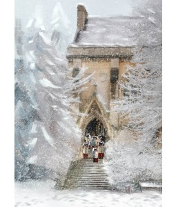 A Christmas card pack with a frosty Church stairs