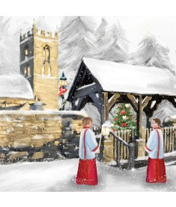 A Christmas card pack with a painted image of choir boys outside the Church