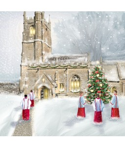 A Christmas card pack with a painted image of choir boys going to Church