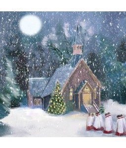 A Christmas card pack with a painted image of choir boys outside the Chapel