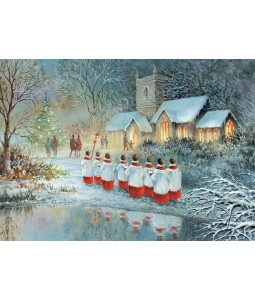A Christmas card pack with a painted image of the choir boys outside the Church