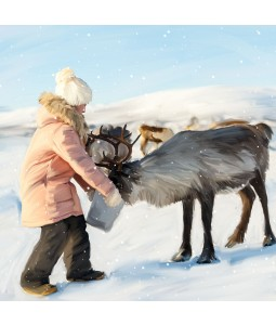 A Christmas card pack with an image of a lady feeding a Reindeer