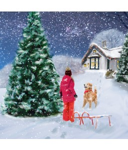 A Christmas card pack with a playful dog in the snow
