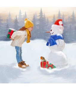 A Christmas card pack with a young girl giving a snowman a present
