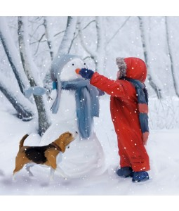 A Christmas card pack with a boy decorating a Snowman with his Dog